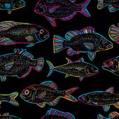 seamless pattern of fishes