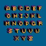 Vector modern tech alphabet letters set. Geometric...