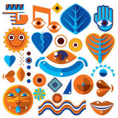 Set of different modernistic vector symbols can be used in corporate and web design Conceptual icons collection created in nature and music theme body and face parts