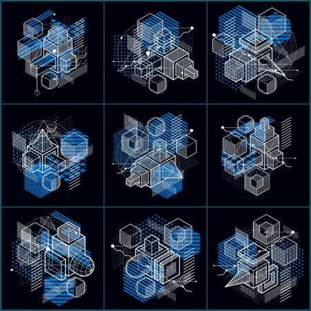 Illustration for Set of different engineering constructions , abstract vectors set. - Royalty Free Image