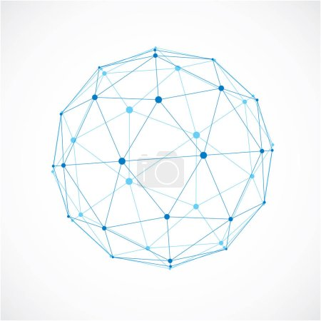 Illustration for 3d vector low poly spherical object with black connected lines and dots, geometric blue wireframe shape. Perspective orb created with triangular facets. - Royalty Free Image