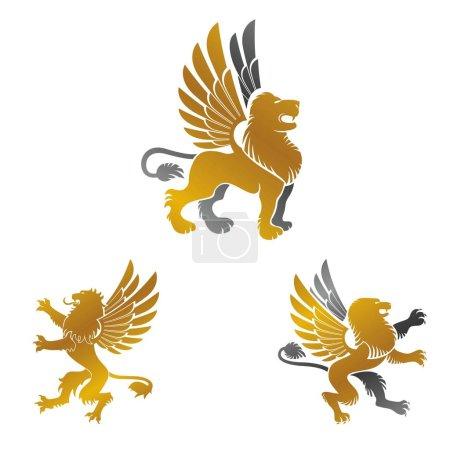 Winged Lion ancient emblems elements set. Heraldic...