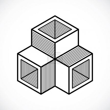 Abstract isometric dimensional shape