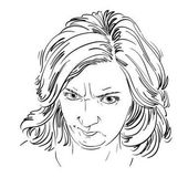 Vector portrait of angry woman with wrinkles on her forehead illustration of good-looking but irate female Person emotional face expression