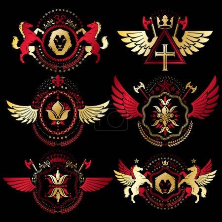 Illustration for Vintage heraldic emblems set, vector illustration - Royalty Free Image