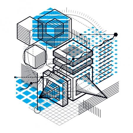 Abstract isometric shapes composition