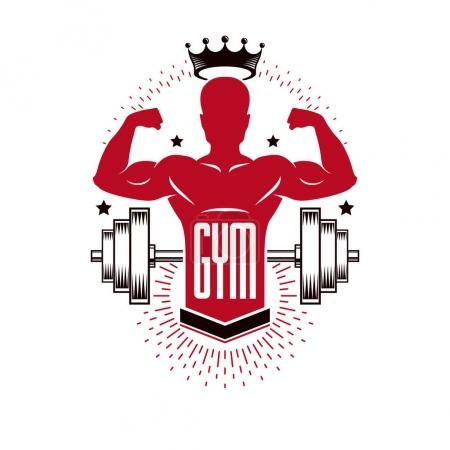 Bodybuilding weightlifting gym logotype