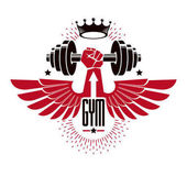 Bodybuilding weightlifting gym logotype sport club retro stylized vector emblem or badge with wings With barbell and strong hand fist