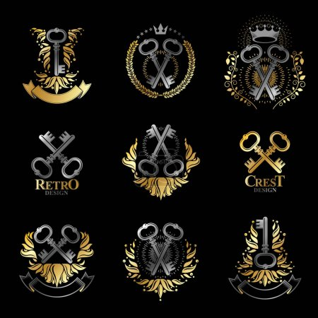 Illustration for Ancient Keys emblems set. Heraldic Coat of Arms decorative logos isolated vector illustrations collection. - Royalty Free Image