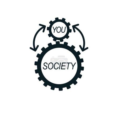 Social Relations conceptual logo, unique vector sy...