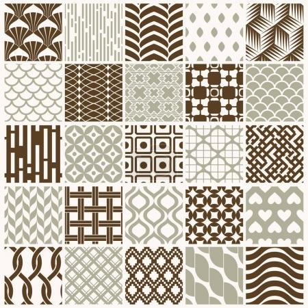 Illustration for Set of vector endless geometric patterns composed with different figures like rhombuses, squares and circles. graphic tiles with ornamental texture can be used in textile and design. - Royalty Free Image