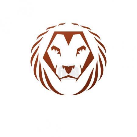 Lion Face heraldic animal element.