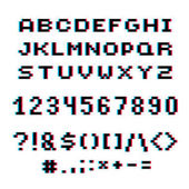 Vector modern numbers letters and punctuation marks created in technology style Geometric pixilated digits and font 3d dotted 8 bit numeration from 0 to 9