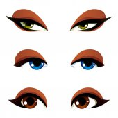 Vector female eyes collection in different emotion with blue brown and green eyes iris Women eyes with stylish makeup isolated on white background