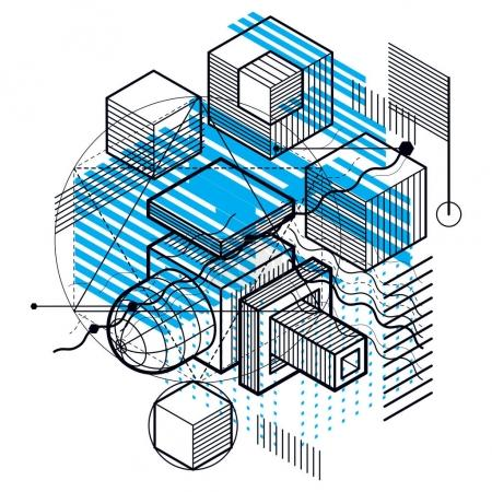 Isometric linear abstract background