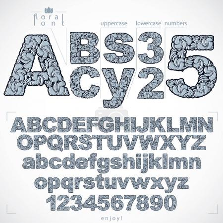 Floral font and numbers