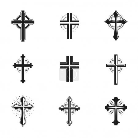 Crosses of Christianity emblems set