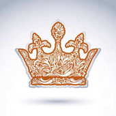 Flower-patterned decorative crown art royal symbol King coronet filled with abstract natural pattern imperial theme vector design element