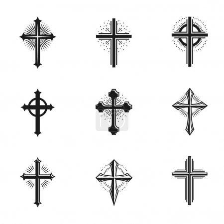 Crosses of Christianity emblems set