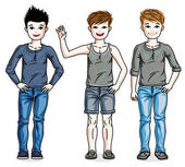 Child young teen boys group standing wearing fashionable casual clothes Vector diversity kids illustrations set Childhood and family lifestyle clip art