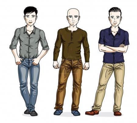Happy men standing in stylish casual clothes