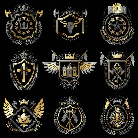 Set of luxury heraldic templates.