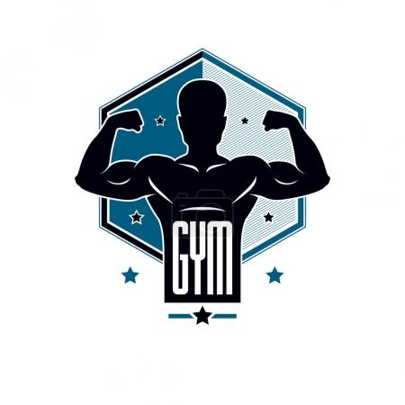 Gym weightlifting and fitness sport club logo