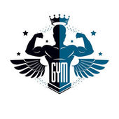 Fitness and heavyweight gym sport club logotype template retro style vector emblem with wings With sportsman silhouette