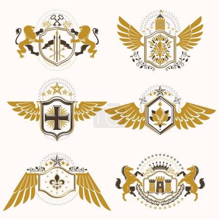 Vintage decorative heraldic emblems