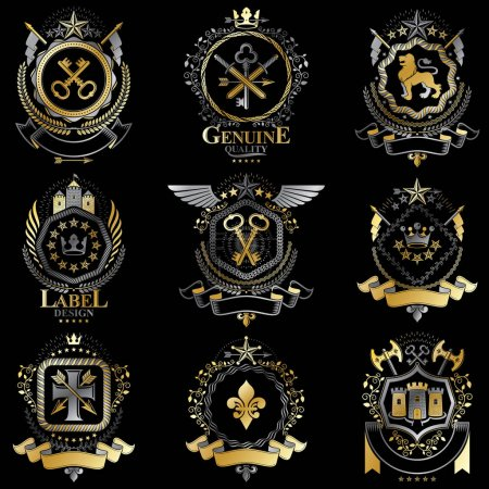 Set of luxury heraldic templates.