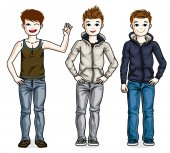 Cute little boys children standing wearing fashionable casual clothes Vector kids illustrations set Childhood and family lifestyle clip art