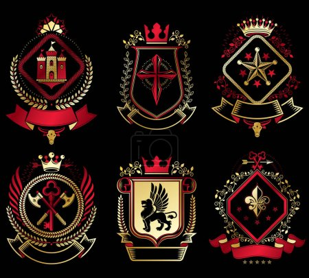 Set of old style heraldry emblems
