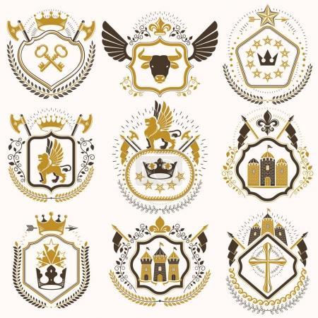 Collection of heraldic decorative coat of arms