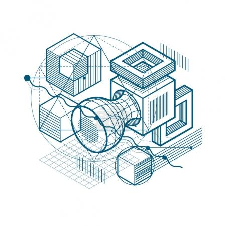background with abstract isometric lines and figures.