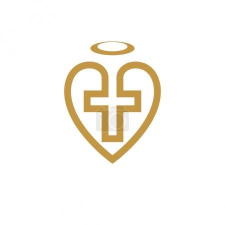 God Christian Love conceptual logo design