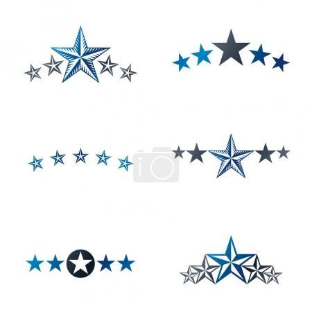 Stars ancient emblems elements set.