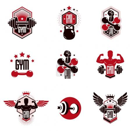Gym weightlifting and fitness sport club logos