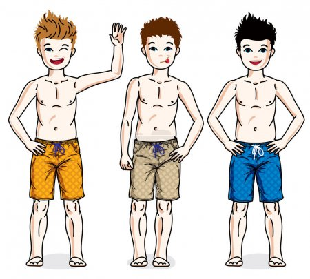 Little boys wearing beach shorts.