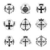 Crosses of Christianity emblems set Heraldic vector design elements collection Retro style labels heraldry logos