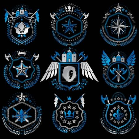 Heraldic emblems with wings