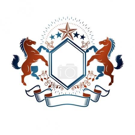 Retro style label, heraldry logo.