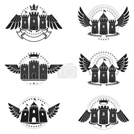 Ancient Bastions emblems set. Heraldic vector desi...