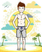 Young teen boy cute children standing wearing fashionable beach shorts Vector illustration Childhood lifestyle clip art