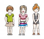 Different little girls cute children standing in stylish casual clothes Vector diversity kids illustrations set Childhood and family lifestyle clip art