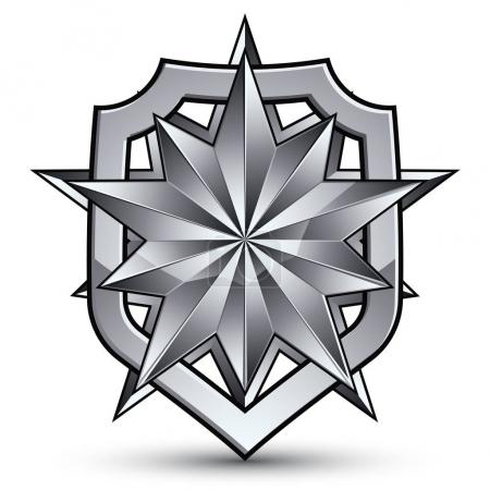 Sophisticated blazon with a silver star emblem