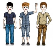 Different young teen boys cute children standing in stylish casual clothes Vector set of beautiful kids illustrations Childhood and family lifestyle clip art