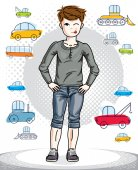 Young teen boy cute children standing in stylish casual clothes Vector character Childhood lifestyle clip art