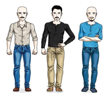 Illustration pour Illustration vectorielle d'un beau dessin animé masculin sur toute la longueur - image libre de droit