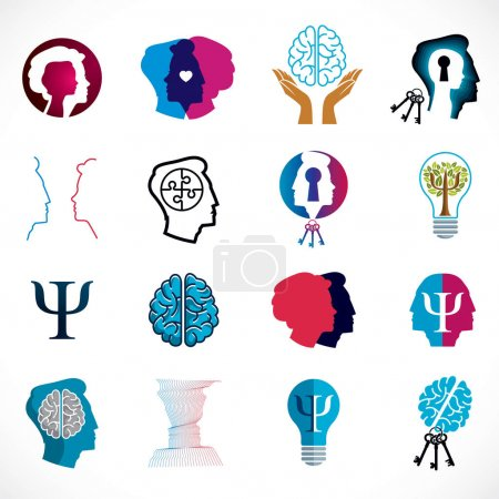 Illustration for Psychology, brain and mental health vector conceptual icons or logos set. Relationship and gender psychology problems and conflicts, psychoanalysis and psychotherapy, personality and individuality. - Royalty Free Image