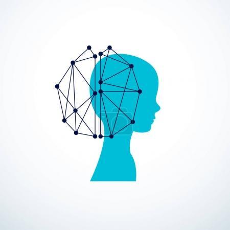 Illustration pour Ordinateur humain androïde bot, concept d'intelligence artificielle. Profil humain avec des éléments électroniques icône. Conception de logo vectoriel. Logiciel intelligent, idée de machines intelligentes et esprit numérique. - image libre de droit